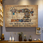 She works willingly with her hands Sewing Tools Book Page poster canvas
