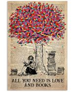 All You Need Is Love and Books Sitting Girl under a tree poster