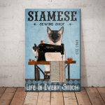Life In Every Stitch Siamese Cat Poster