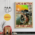 Life is better at the lake Fishing Rod poster