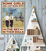 Pilot Girls Some girls are just born with the sky in their soul poster canvas