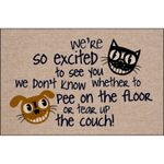 So Excited To See You Grinning Cat And Dog Doormat