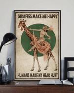 Giraffes Make Me Happy Human Make My Head Hurt Poster Canvas