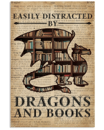 Easily Distracted By Books And Dragons Bookshelf Dictionary Page poster
