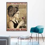 Easily Distracted By Books And Wine Librarian Girl poster