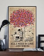 All I need is love and sewing Woman under Colorful Tree poster
