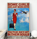 Flight attendant some girls are just born with the sky in their souls canvas