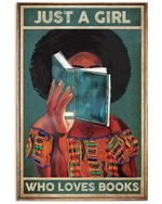 Just a Girl Who loves Books Black Afro Reading Girl poster