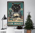 Sew what black cat vertical poster