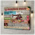 Quilting Rules Sewing Machine poster canvas