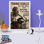 Some Girls Are Just Born With Motorcycling In Their Souls Book Page poster canvas