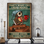 I read books drink coffee know things night cap owl poster