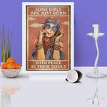 Hippie girl Some girls are just born with peace in their souls poster canvas