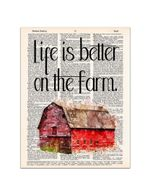 Life is Better on the Farm Red farmhouse Dictionary Page poster