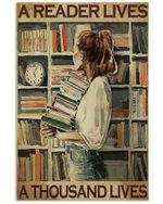 A Reader Lives A Thousand Lives Girl Carrying Books Poster