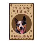 Life Is Better With A Australian Cattle Dog Dog Paws poster