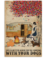 Life Is Better when you're camping with your dogs Reading Girl poster