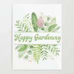 Gardening Happy Gardening Poster Canvas