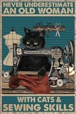 Never underestimate an old woman with bears and sewing skill Black cat poster