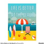 Life is Better at the Beach Umbrella and Surfing Boards poster