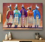 Native people oil painting style poster canvas