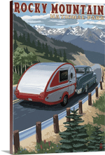 Rocky Mountain National Park Camper Retro Travel Road Trip Poster