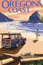 Oregon Coast On Beach At Sunset Retro Travel Road Trip Poster