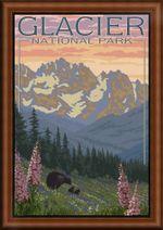 Glacier National Park Retro Travel Road Trip Poster