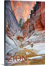Zion National Park Retro Travel Road Trip Poster