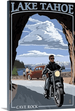 Lake Tahoe California Motorcycle Scene Retro Travel Road Trip Poster