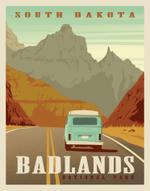 Badlands National Park Vintage Style Travel Road Trip Poster