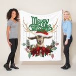 Cute Christmas Goat with Antlers and Wreath Fleece Blanket