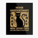 Never Underestimate A Man Who Loves Cats And Was Born In November Print Poster