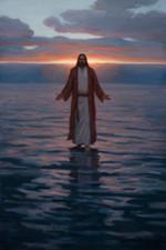 Jesus walks on water at dawn poster