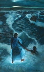 Jesus walks on the water and catchs Peter in the middle of the waves poster