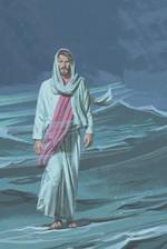 Jesus walks on water Aqua Green Poster