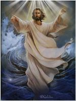 Jesus walking on water order the sea to calm Poster