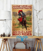 Never Underestimate An Old Lady Who Rides Horse Vintage Poster