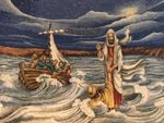 Jesus walking on water reached out his hand and caught Peter poster