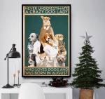 Never Underestimate A Crazy Dog Lady Was Born In August Canvas Poster