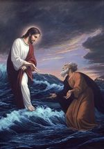 Jesus Walks On The Waves To Peter Poster