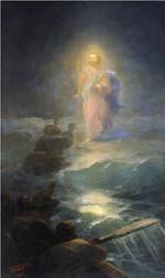 Jesus walks on water at night poster