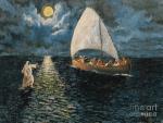 Jesus walks on water under a full moon poster