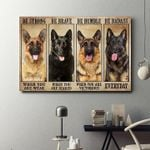 German shepherd be strong brave humble badass everyday poster canvas