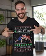 Wrestlers put your singlet on it's cuddle time ugly christmas shirt