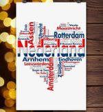 Nederland cities names heart for netherlands lovers poster
