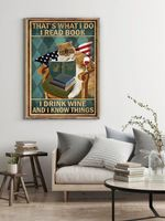 Ginger Cat That's What I do I Read Books I Drink Wine And I Know Things Wall Poster