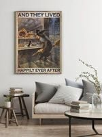 Tiny Cat and an Old Witch And They Lived Happily Ever After Halloween Decor Poster