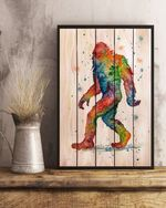 Bigfoot watercolor wooden Poster No Frame