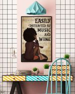 Afro Girl Vinyl And Wine Poster Canvas